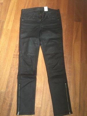 Schwarze Coated Skinny Jeans H&M 26