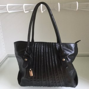 Schwarze Coccinelle Handtasche aus Leder