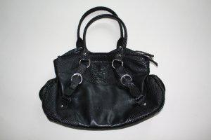 schwarze Coccinelle Henkeltasche aus Leder mit Krokooptik