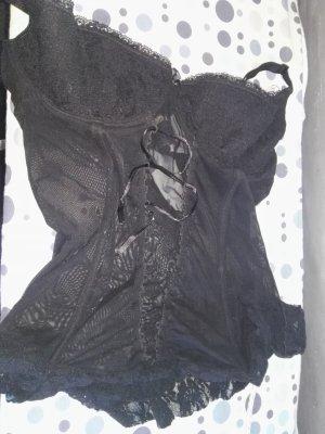 schwarze Corsage fällt aus wie eine M/l