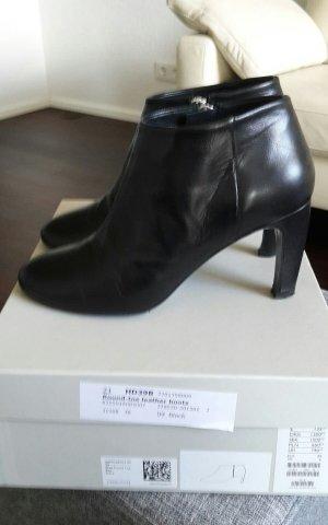 Schwarze COS Damen Stiefeletten Round-toe leather Leder Boots Black Gr. 39