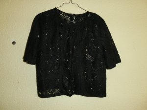 Schwarze Crop-Top Bluse - Spitze