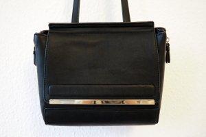 Schwarze Cross-Body-Bag aus Kunstleder, vegan, goldene Hardware