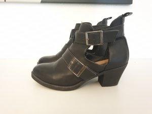 Primark Cut Out Booties black-silver-colored