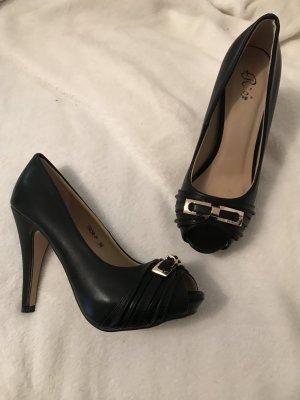 Schwarze Damen Peep Toes mit goldener Schnalle High Heels Gr. 36 NEU