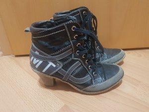 Schwarze Damenschuhe Stiefeletten Stiefel Gr.39 Marco Tozzi Schnürrstiefeletten