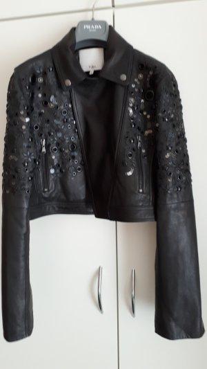 Schwarze Designer Lederjacke von Tibi