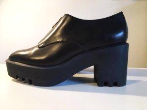 Schwarze echt Leder Ankle Boots