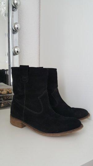 schwarze echt Leder Boots Stiefeletten Taupage Größe 39