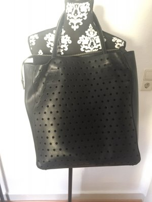 Schwarze echt Leder Handtasche