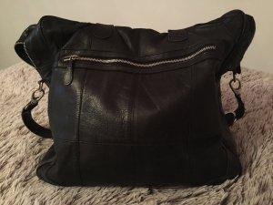 Schwarze Echt Leder Reisetasche