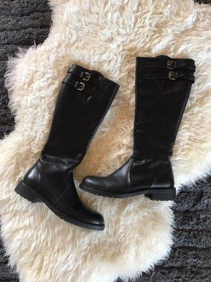 Schwarze Echt Leder Stiefel