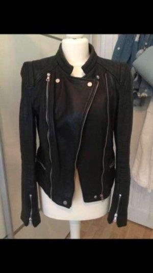 Schwarze Echt-Lederjacke von Zara in Größe 36