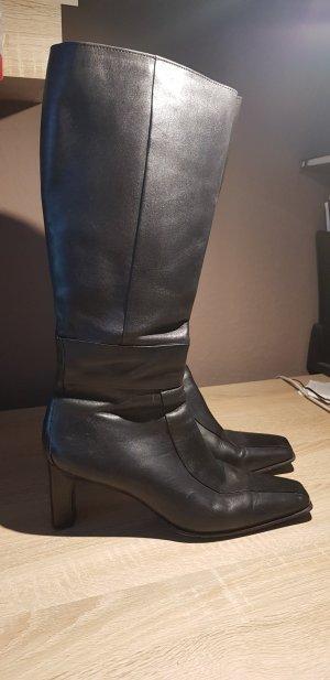 Schwarze Echtleder-Stiefel
