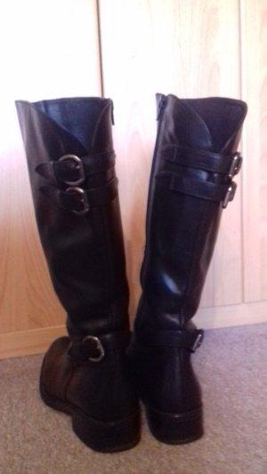Schwarze Echtleder Stiefel