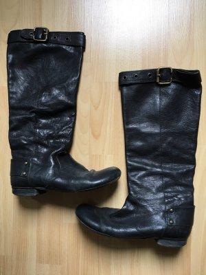 Schwarze Echtleder-Stiefel im Bikerlook