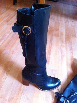 Schwarze (Echtleder)-Stiefel mit Holzabsatz in 39