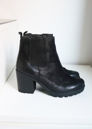 Schwarze Echtleder Stiefeletten Cox 38 Chelsea Boots wie Vagabond Grace