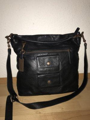 Schwarze Echtleder-Tasche
