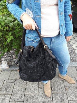 Handbag black-sand brown leather