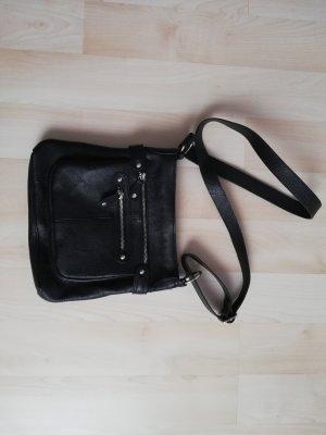 Schwarze Echtledertasche