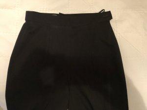 Schwarze edle Business Hose ohne Schnickschnack, Taillenhose, Wollstoff