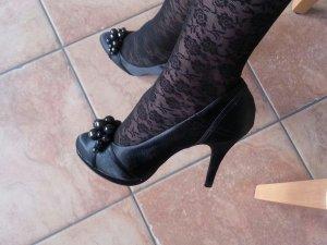 schwarze elegante Highheels in schwarz mit Perlen