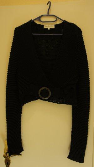 schwarze etwas kürzere Strickjacke von Joachim Bosse Style, Größe 40