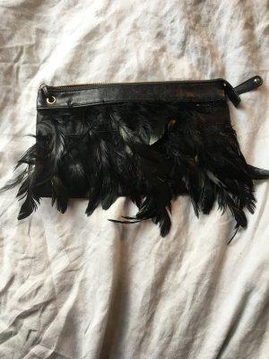 Schwarze Feder clutch Tasche Party Glamour Federn schwarz Leder Look Handtasche