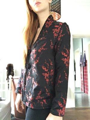 Schwarze feine Jacke Strickjacke rot Muster Blazer Geisha Blouson  asia China Seide Look Blumen schwarz rot