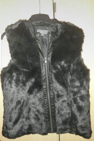 She Fake Fur Vest black-gold-colored