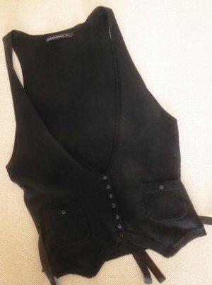 Schwarze Feinstrick-Weste mit eleganten Details (Merinowolle)