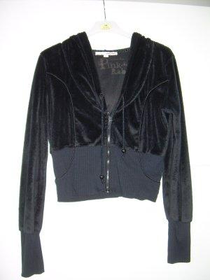 schwarze Fell-Jacke Hoodie von Tally Weijl Gr. L 40/42 kurz Gothic