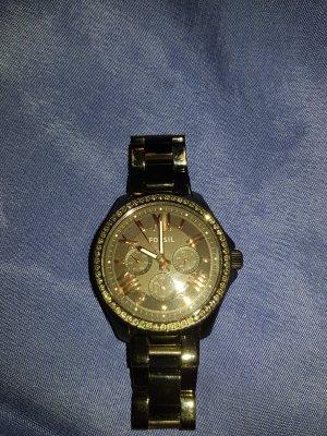 Schwarze Fossil Uhr mit Strass