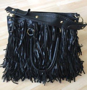 Bolso de flecos negro Imitación de cuero