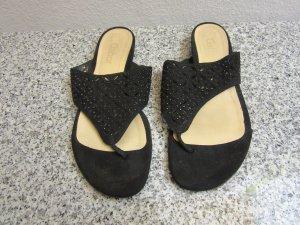 Gabor High-Heeled Toe-Post Sandals black leather
