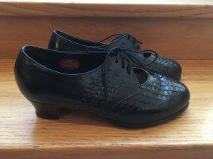 Schwarze geflochtene Leder-Vintage Schuhe von FOX im Stil der 20er Jahre in Größe 37