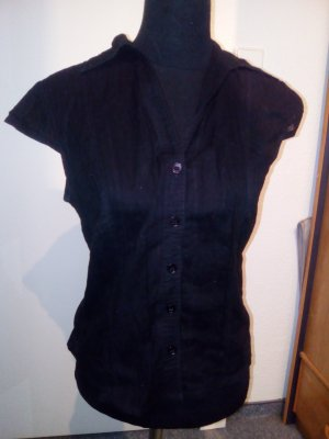 schwarze gestreifte Bluse - Kurzarm - Größe 42 - H&M