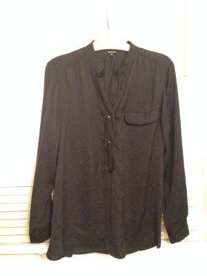 Schwarze glänzende Bluse used-Look Gr. 38