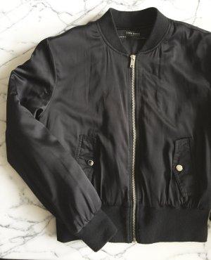 Zara Basic Chaqueta bomber negro-color plata