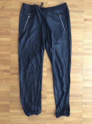 schwarze glänzende Stoffhose von Replay im Joggerstyle Gr.M