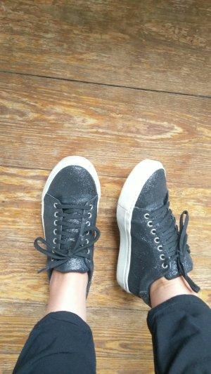 Schwarze Glitzer Sneaker mit weißer Sohle Gr. 36