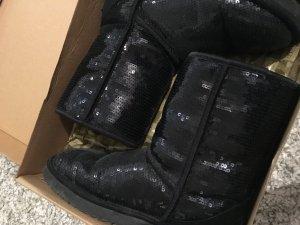 Schwarze Glitzer UGG-Boots