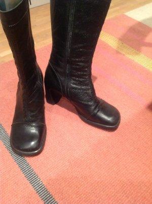 Schwarze Halbstiefel Vintagelook 38