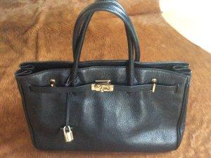 Schwarze Handtasche aus Leder im Stil der Birkin Bag