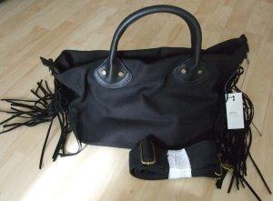 schwarze Handtasche mit Fransen von Only