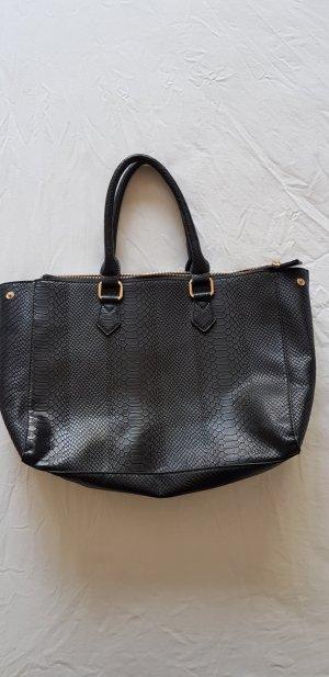 Schwarze Handtasche mit Kroko Optik