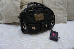 schwarze Handtasche Poodlebag mit Pink Stoff und Lack, silber