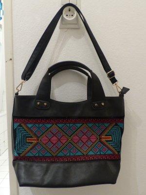 schwarze Handtasche / Shopper mit Stickmuster - Indian Style - super Zustand