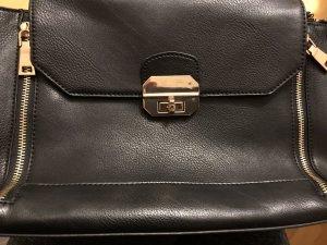 Schwarze Handtasche Tasche Hallhuber goldene Reißverschlüsse